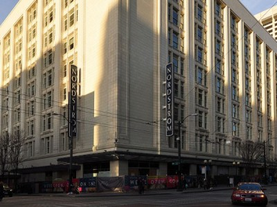 The outside of the Nordstrom flagship store building in Seattle in 2016.