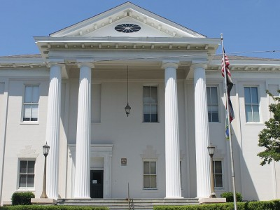 The front of the Adams County Courthouse in Mississippi.