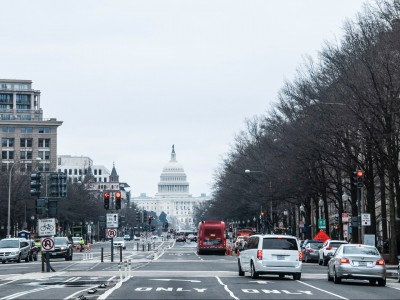 US Capitol in distance from Washington, DC streets