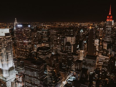 A view of Manhattan at night from atop of Rockefeller Plaza.