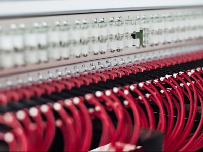 Close-up of fiber-optic cable rack.