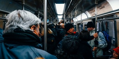 Commuters crammed in The New York City Subway in Manhattan