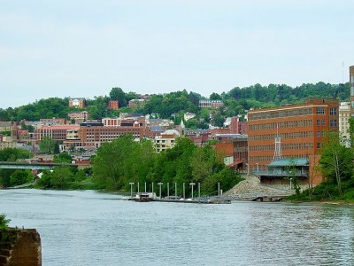 West Virginia University downtown campus from the Monongahela River