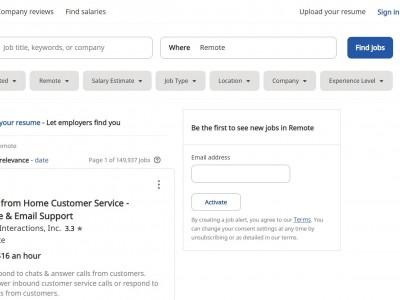 Indeed job search screen
