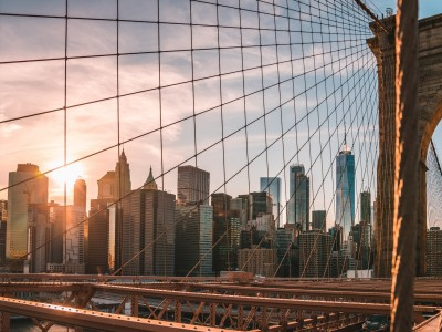 Looking through the cables of The Brooklyn Bridge in New York City