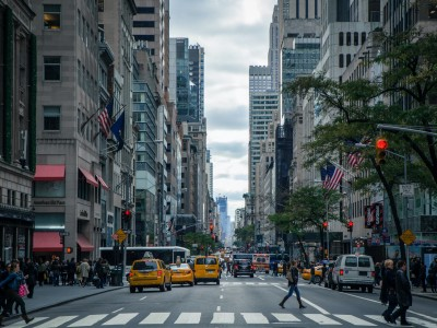 View of traffic and pedestrians on New York streets