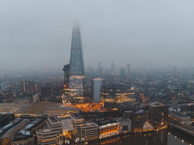 View of London on a foggy day