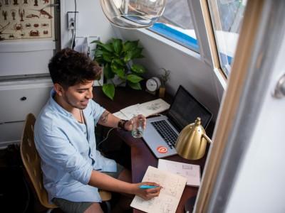 Remote worker at home desk