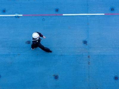 Navy serviceperson walking
