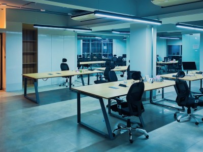 Empty office with computer stations