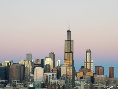 View of Chicago skyline at sunset