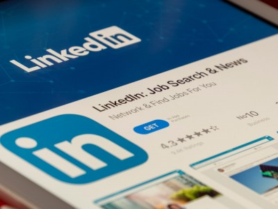Closeup of LinkedIn app on phone