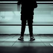 Commuter at train station in Nagano, Japan